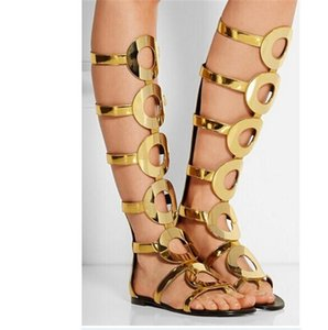 Gold Leather Circle Cut Outs Summer Sandals Boots Flat Knee High Boots Gladiator Sandals Women Ladies Shoes Woman Botas