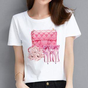 New Fashion Leisure Lovely Personality Ladies bag perfume printing T Shirt Women Harajuku summer Short Streetwear Clothes Tshirt
