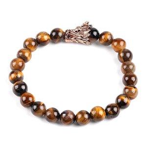 Strand Bracelet Natural Stone Tiger Eye 8mm Gem Bead Retro Dragon Head Men Bracelets Healing Jewelry for Women Pulsera