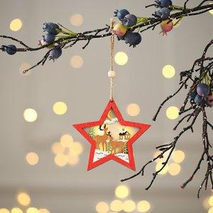 Natale illuminato ornamento in legno Hollow wooden glitter ciondolo albero di Natale albero albero a forma di stella a forma di stella con luce LED EWB2724