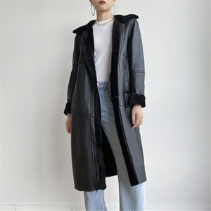 OFTBUY New Luxury Real Fur Coat Winter Jacket Women Genuine Leather Double Faced Fur Merino Sheep Fur Outerwear Streetwear 201112