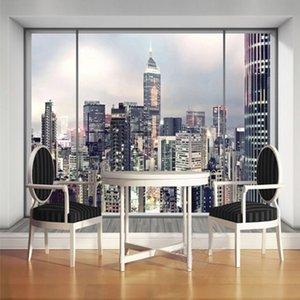 Özelleştirilmiş Boyut 3D Pencere New York Manzara Duvar Kağıdı Oturma odası İç Sanat Dekor Fotoğraf Mural için