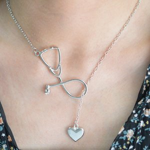 Fashion Simple Heart Stethoscope necklaces For Women Doctor nurse medical Pendant Gold Silver Chain Jewelry Gift