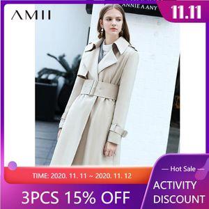 Amii Autumn Elegant Trench Coat Fashion Office Lady Solid Loose Lapel with Belt Female Long Trench Jacket 11870261
