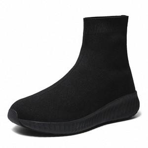 Wienjee Brand Mujer zapatillas de deporte tela de gotas zapatos casuales mujer resbalón en zapatos de calcetines zapatillas de deporte de chicas zapatos de top altos de alto otoño # 9b52
