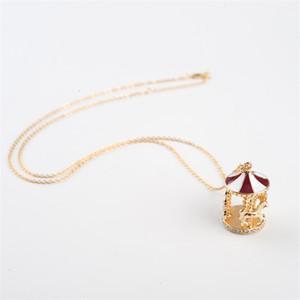 Carousel Horse Ciondolo Collane Moda Collana Gold Catena Collana Donne Maglione di cristallo Accessori per gioielli 335 G2