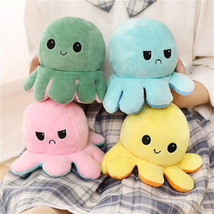 23 Styles Reversible Flip Octopus Stuffed Doll Soft Double-sided Expression Plush Toy Baby Kids Gift Doll Festival Party Supplies