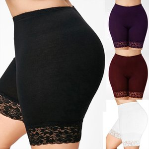 Summer Womens Plus Size Mid Waist Lace Hot Shorts Elastic Sports Trousers Trunks Casual Solid Color Loose short feminino