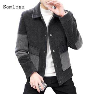 Samlona Mens Patchwork giacca Autunno lana cappotti monopetto Moda 2020 Abbigliamento Uomo Miscele di stile giapponese tuta sportiva di inverno
