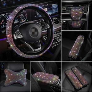Bling Shining Rhinestones Cristal Cubierta de volante de cuero PU Cubiertas de volantes de cuero de PU ACCESORIOS AUTOMÁTICOS Caso Kit para niñas1