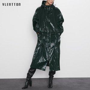 Autumn Winter Folds Glossy Long Trench Coat Female Zipper Hooded Women's Windbreaker Coats Solid Casual Outwear Casaco Feminino