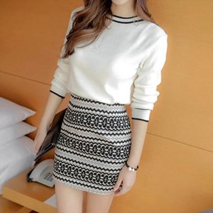 New Spring knitted Dress Long Sleeve Fashion Korean Sweater Womens middle long Hip skirt white Two piece Winter sweater 11i5