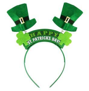 Irish St Patricks Day Bandeau vert Leprechaun hairband Accessoires Shamrock Boucle Déguisements Carnaval fête de Noël chapeaux haut de forme bateau gratuit
