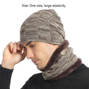 Мужская зима жаккарда Plaid Knit Beanie Hat шарф набор лыж Череп Cap Neck Warmer D08E