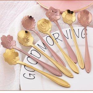 7 couleurs cuillère à mélange de fleurs en acier inoxydable coloré fleur cuillère à café 8 sortes de thé cuillère en forme de fleur DWD2343