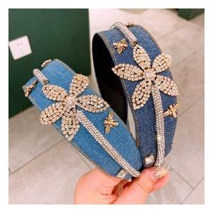 Fashion South Korean denim Mori women's Water Diamond Flower drill stripe fold wide edge Hair Band hairpin accessories HJ