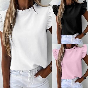 Feitong Women Blouses Ruffle Short Sleeve Plus Size Shirts Ladies Casual Daily Blouse Summer Shirt Tops Elegant Office Lady