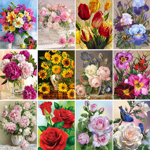 5D DIY Painting Flowers Vase Cross Stitch Kit Full Drill Diamond Embroidery Mosaic Rose Art Picture Home Decoration Gift Q1218