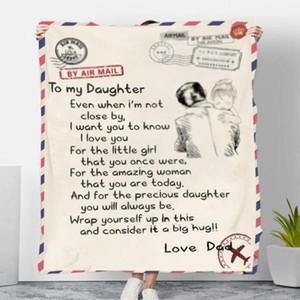 Battaniyeler Mercan Polar Battaniye Kızım Mektup Baskılı Yorgan Baba Anne Kocası Battaniye Teşvik Ve Aşk Battaniye FWB2831