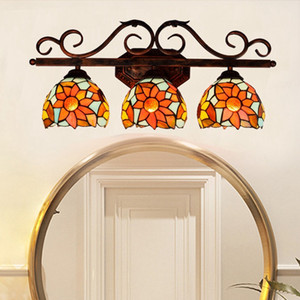 Three Head Wall Lamps Sunflower Tiffany Stained Glass Lamp European Style Bathroom Mirror Headlight American Corridor Bar Sconce Light