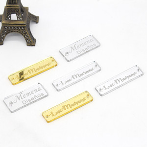 50x Personalized Engraved Acrylic Mirror Tags Clothing Tags Sew On Acrylic Labels, Custom Design Size For Box Labels Decorations Y201006