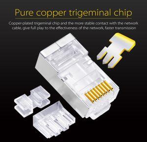 50U Altın Kaplama Üç Parça Ethernet Connector Cat6 RJ45 8P8C Modüler Tak Gigabit Ağ Kablosu Bağlayıcı Kristal Kafa