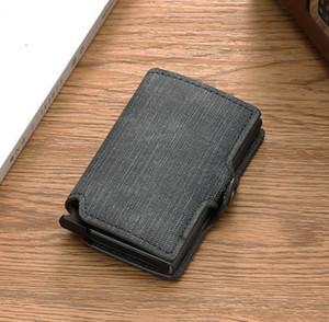 Casekey Diebstahl derbstahl RFID Blockierung Aluminium Geldbörse minimalistische Denim-Leder-Münze-Karten-Koffer Q1220