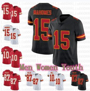 2020 Yeni Erkek Kadın Gençlik 15 Patrick Mahomes 87 Travis Kelce 10 Tyreek Hill Futbol Formaları