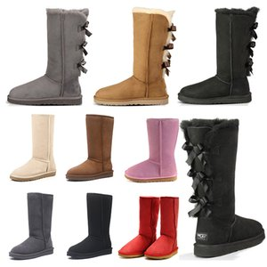 winter boot womens classic snow boots 3 bow fur boot chestnut black Grey pink chocolate red girl fashion outdoor 2021 new arrival