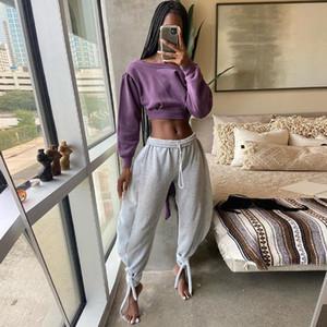 Women High Waist Pants Bandage Loose Wide Leg Trouser Autumn Spring Fashion Streetwear Warm Joggings Casual Sweatpants Gray