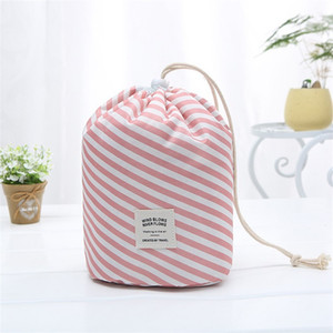 Barrel Shaped Cosmetic Bags Large Capacity Drawstring Travel Dresser Pouch Xford Fabric Flamingo Print Organizer Storage Bags 9colors 239 G2