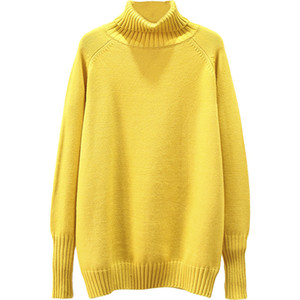 Essential Women's Sweater Fashion Solid Color Jumper Full Sleeve Knitted Turtleneck Pullover Female Oversize Autumn Winter