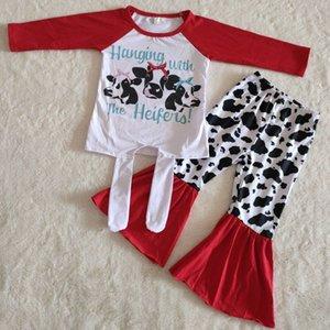 Moda Butik Bebek Giysileri Üç İnek Uzun Kollu Çocuk Giyim Yeni Tasarımcı Giyim Kişilik Kırmızı Pantolon Takım Gelgit