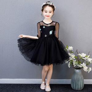 Crianças Princess Party Black Dress Wedding Dança Prom vestido sem mangas Lantejoula dos desenhos animados Cerimonial Robe Tulle elegante em camadas Vestidos LTMj #