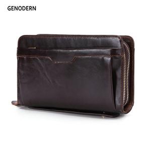 Genodens Negocios hombres embrague carteras de lujo doble cremallera de cuero genuino monederos de longitud de gran capacidad de gran capacidad para hombre Q1220