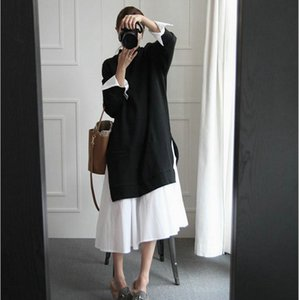 Korean Umstandsmode langärmeliger Herbst Schwangere Frauen Kleidung Adrette Art-Schwarz-Weiß-Baumwollkleid Großhandel