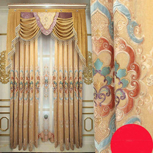 European Style Villa Curtains for Living Dining Room Bedroom Cashmere Fabric Embroidery Curtains Valance Customization
