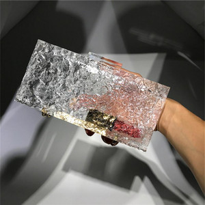 Free Ship Ice Cracked Lady Acrylic Clutch Bags Handbag Crystal Clutchs Acrylic Bags Bucket Bag Transparent Dinner Bags Fashion Evening Bag#1