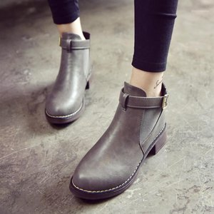 Womans Ankle Booties Round Toe Block Heel Leather Boot Casual Trendy Shoes for Woman Boots Cheap Comfortable Shoes Women Boots1