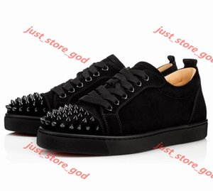 Brand-new Low top Junior Spikes Red Bottom Sneakers Shoes Graffiti Patent Leather Round-toe Casual High Quality Outdoor Studs Wedding Party