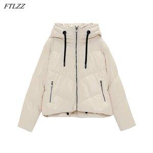 Ftlzz otoño invierno mujeres con capucha cremallera con cremallera de piel de imitación de piel de imitación de piel de imitación ocasional femenino grueso cálido chaqueta corta a prueba de viento Outwear