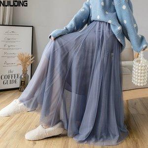 Nijuencia falda media hembra otoño nuevo estilo falda de longitud media alta cintura sólido color sexy plisado a línea de malla falda 201109