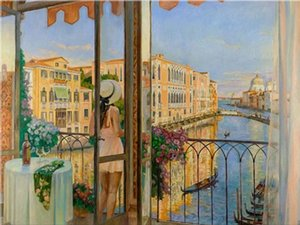 Diego Santos - Ti Amo Venezia Home Decor Handpainted &HD Print Oil Painting On Canvas Wall Art Canvas Pictures 191230