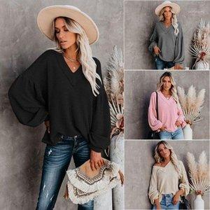 Осень 2020 Горячая трансграничная женская одежда сплошной цвет внутренний износ Свободные трикотажные одежды с длинным рукавев-вырезом свитер зимняя одежда женщины1