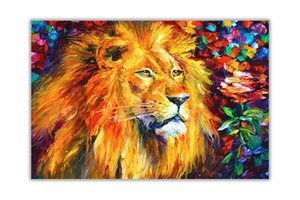 Lion By Leonid Afremov Canvas Art Home Decor Handpainted &HD Print Oil Paintings On Canvas Wall Art Pictures For Living Room 201007