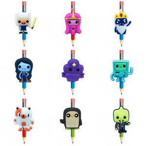 Bonito Adventure Time Criativo Pencil Topper Pens Suprimentos Pencil Caps aperto DIY presentes crianças Acessórios PVC Lembrança frete grátis