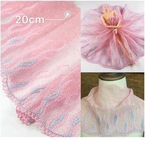 2 metros / lote Color rosa Malla de malla cordones adornos de encaje decoración del hogar Decoración de tela Ropa de costura apliqueada TR SQCMVS