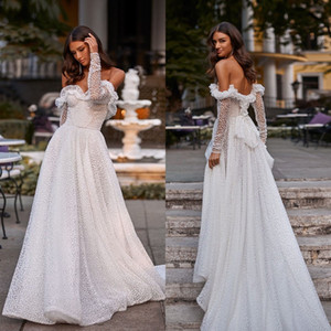 2021 Beach Wedding Dresses Off the Shoulder Dot Tulle A Line Boho Wedding Dress Custom Made Long Sleeve Vestidos De Novia