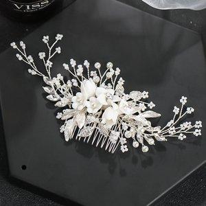 Lüks El Yapımı Kadınlar Headpeice Saç Pin Çiçek Şekli Saç Tarak Gelin Tarak Düğün Headdress Saç Takı Aksesuarları XH W0104