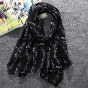 Luxury-Fashion Women's Scarves Music Notes Print Voile Scarf Wrap Shawls Ring Pashmina